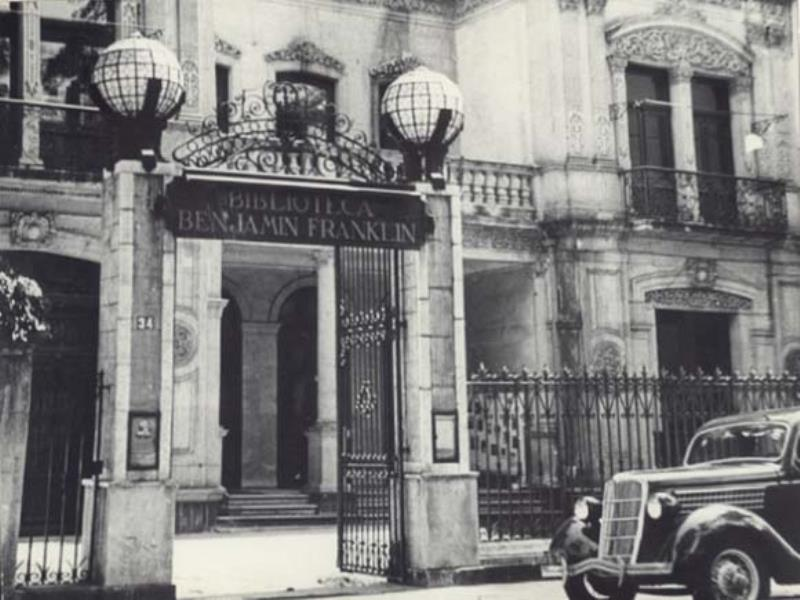 Photograph of Benjamin Franklin Library Entrance Dated 1942