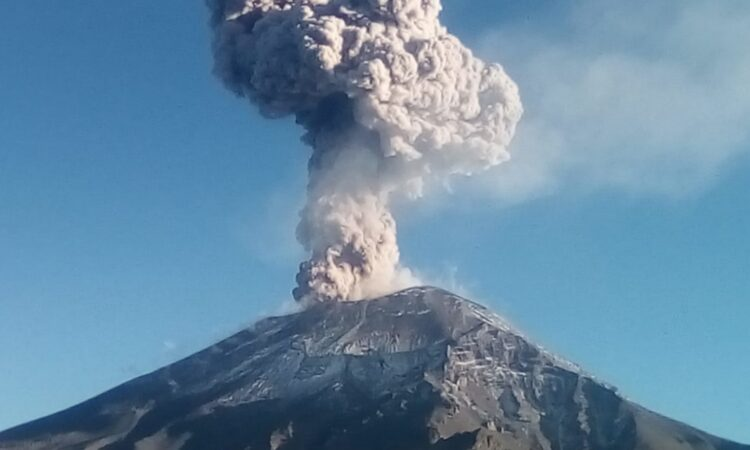 A volcano erupting.