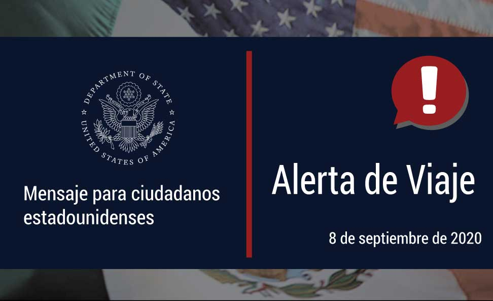 Department of State Travel Alert in Spanish