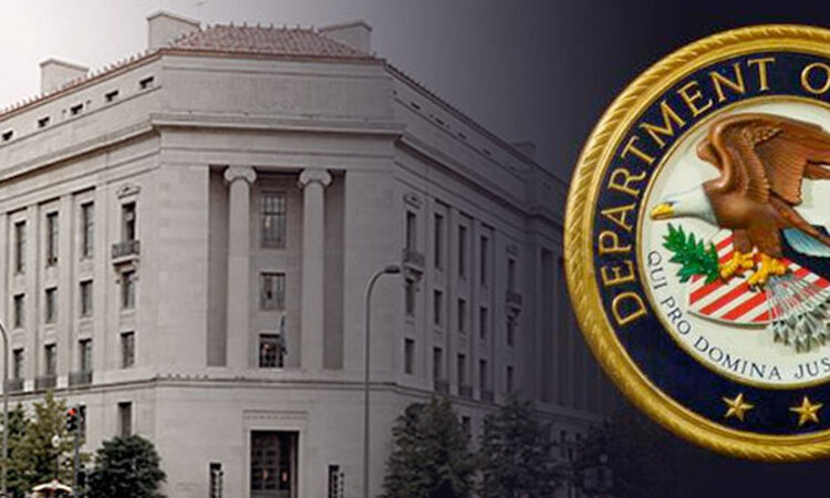 Picture of a building with the Department of Justice seal overlayed onto it.