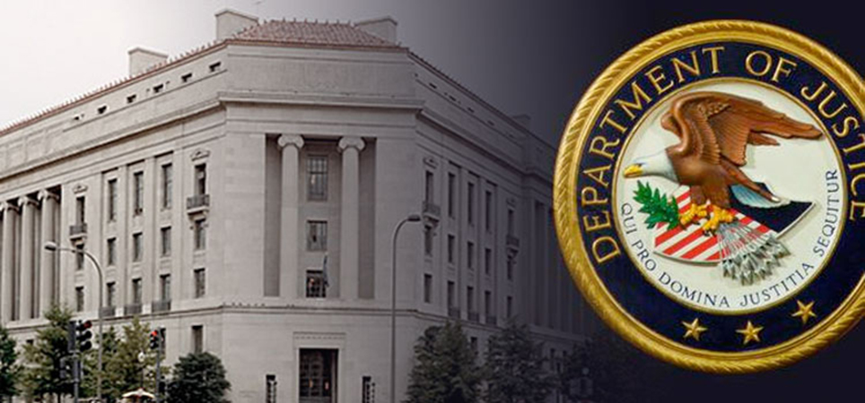 Building with the Department of Justice seal overlayed onto it.
