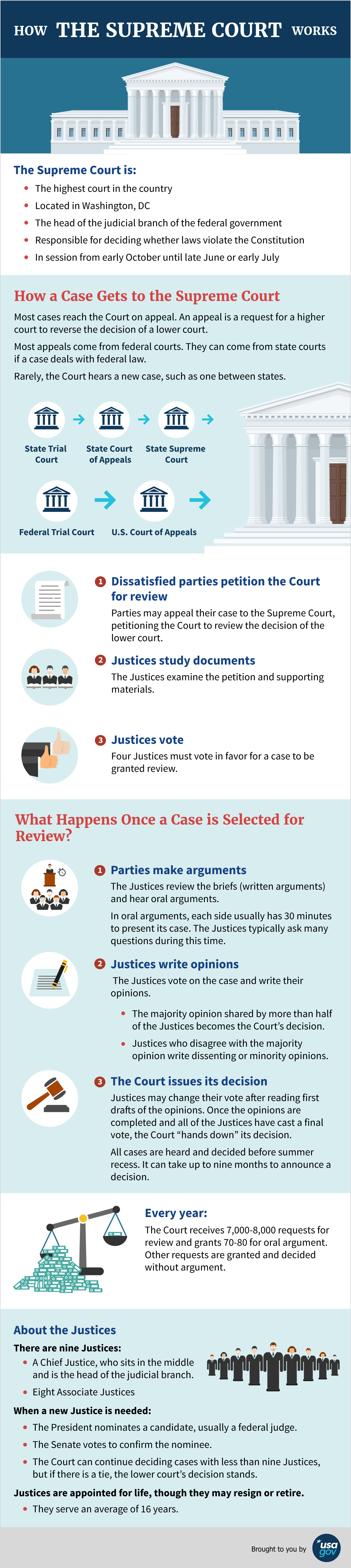 Infographic of how the supreme court works