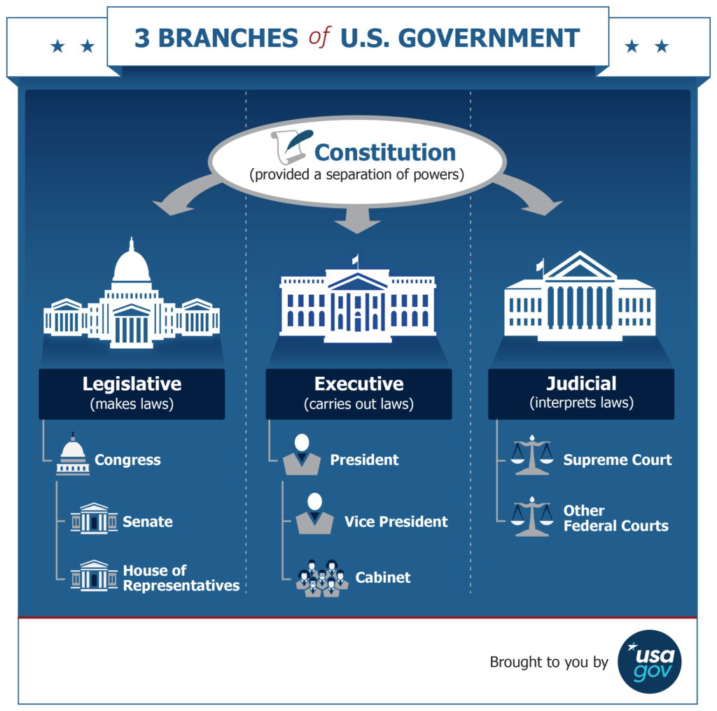 Infographic of the branches of the U.S. government