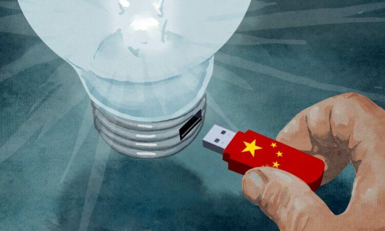 USB drive plugging into a lightbulb