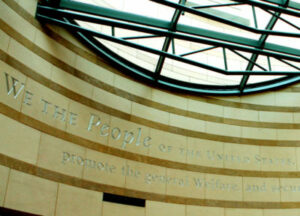 """Engraving in the rotunda: """"We the People..."""""""