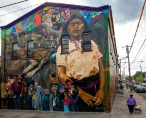 a mural depicting natives