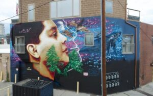 a mural of a person