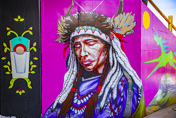 mural of a native american