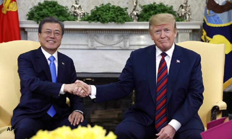 President Donald Trump meets with South Korean President Moon Jae-in
