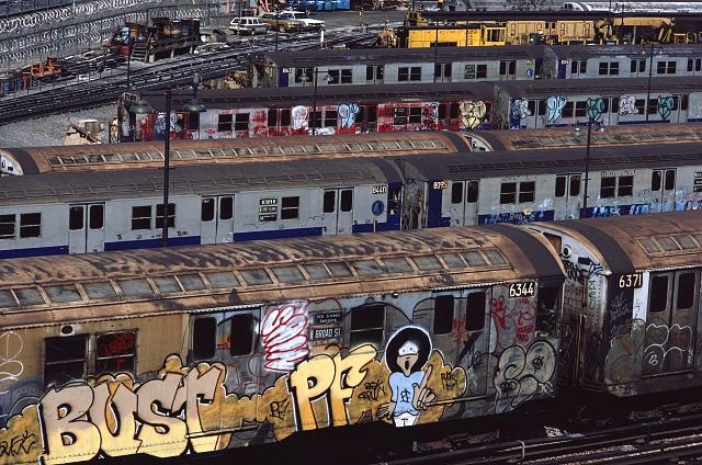 subway trains with graffiti