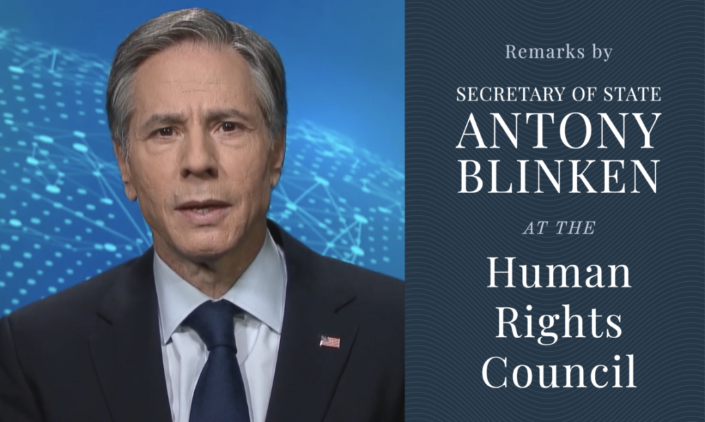 """Photo of Secretary Blinken and the text: """"Remarks by Secretary of State Antony Blinken at the Human Rights Council"""""""