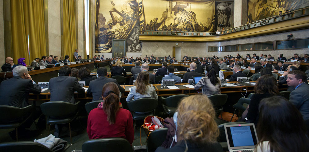 The Council Chamber accommodates the meetings of the Conference on Disarmament (U.S. Mission photo by Eric Bridiers)