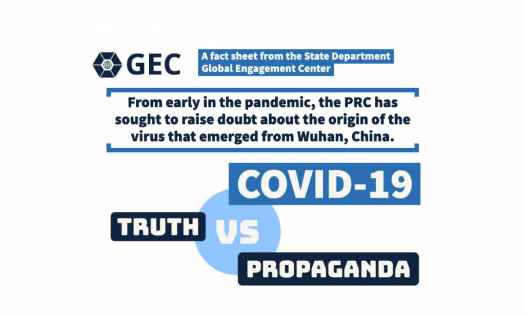 A fact sheet from the State Department Global Engagement Center. From early in the pandemic, the PRC has sought to raise doubt about the origin of the virus that emerged from Wuhan, China. COVID-19 Truth vs. Propaganda