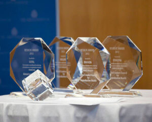 A display of acrylic awards