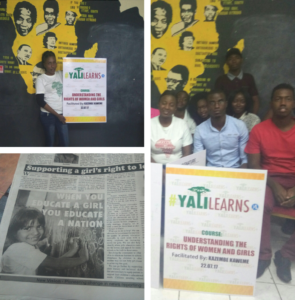 Collage showing newspaper story and two photos of people holding #YALILearns signs