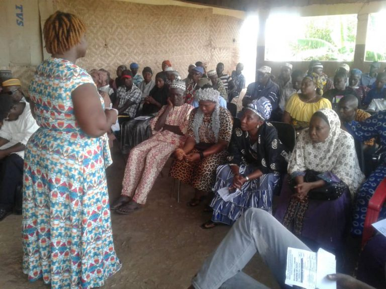 Florence at a dialogue with community members in Kambia District in May 2019