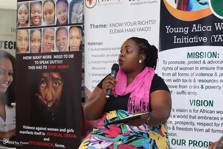 Estelle speaking at the Young African Women's Initiative Forum in Kenya in 2019