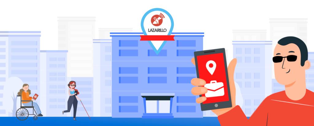 lazarillo app graphic, man holding app on a phone