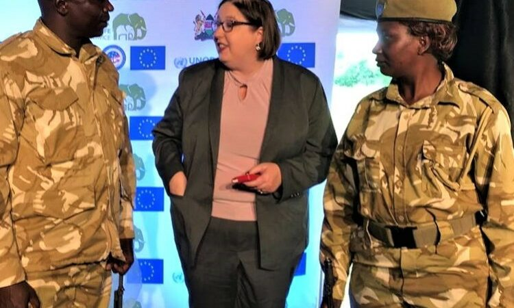 Deputy Assistant Secretary Merritt speaks with soldiers at Anti-Corruption Day with the Kenya Wildlife Service