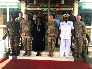 The Commanding General of the United States Special Operations Command Richard D. Clarke and the Commanding General of Special Operations Command- AFRICA Dagvin Anderson met with Kenya Chief of Defense Samson Mwathethe and Cabinet Secretary Rachel Omamo at Kenya Defense Force Headquarters to discuss the thriving military partnership between Kenya and the United States.