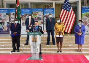 United States Trade Representative Robert Lighthizer and Kenya Cabinet Secretary for Industrialization, Trade, and Enterprise Development Betty Maina formally launched trade agreement negotiations between the United States and the Republic of Kenya