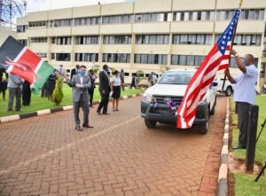 Ambassador Kyle McCarter delivers 10 Toyota Hilux pickup trucks to the DCI and EACC for use by their investigators to combat corruption and drug trafficking