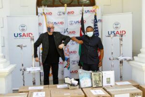 USAID Mission Director Mark Meassick delivers 14 new modern ventilators to Mombasa County to assist its fight against COVID-19