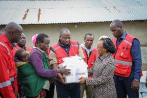 USAID's Regional Advisor Betty Kraus and Kenyan Red Cross Society staff
