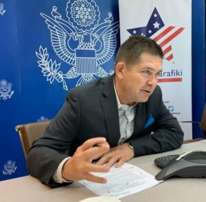 Ambassador Kyle McCarter in an interview with Dala FM, a radio station based in Kisumu.
