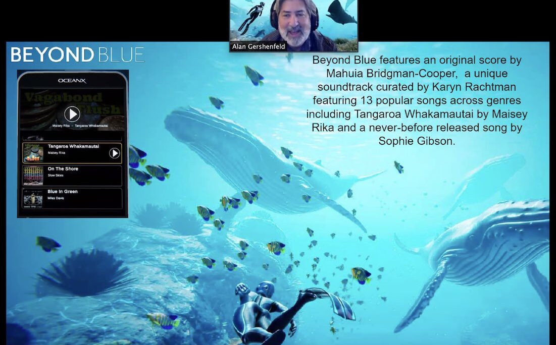 Thumbnail of a man over an artificial, computer generated image of a scuba diver swimming with whales and fishes underwater.