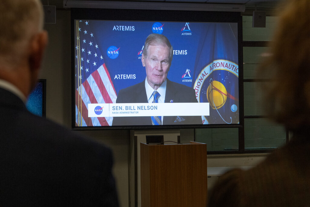 NASA Administrator Nelson speaking from a television