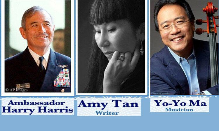 photos of Ambassador Harry Harris, writer Amy Tan, and musician Yo-Yo Ma