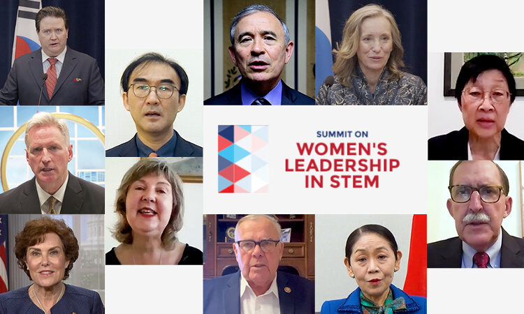 women's leadership in stem text with multiple headshots