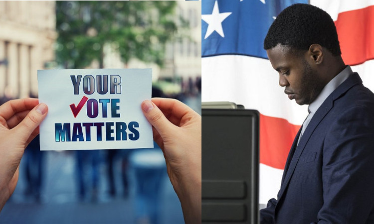 person holding sign that says your vote matters