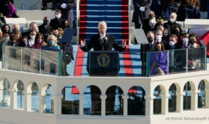 Joseph Biden speaking at the presidential inauguration.
