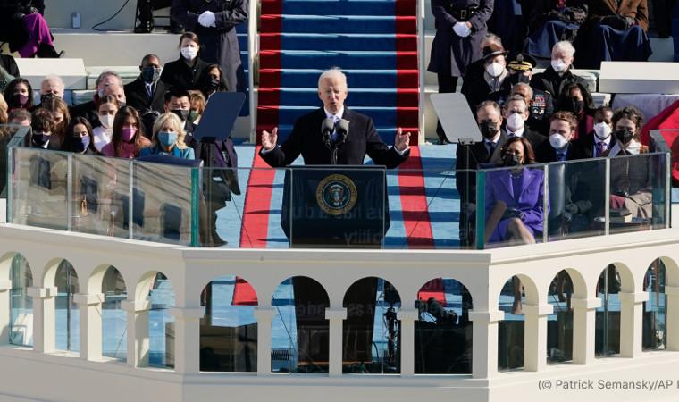 Joseph Biden speaking at the presidential inauguration.