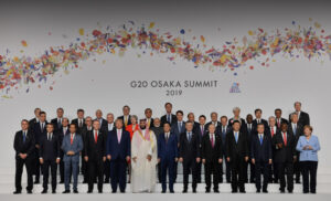 President Trump at Osaka Summit with leaders posing for picture