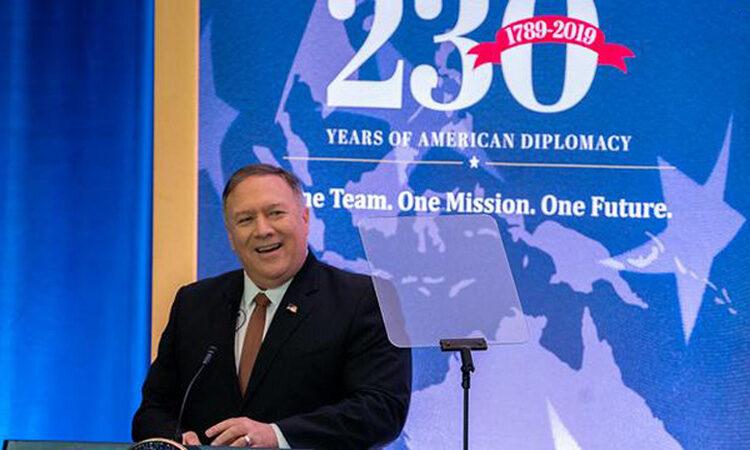 Secretary of State Michael R. Pompeo at a podium