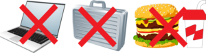 indicator that laptops, briefcases, and food are prohibited