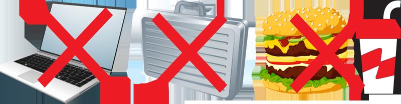 No Laptop, briefcase or food indicator
