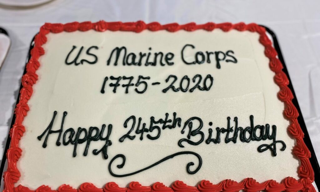"Cake that is decorated with words reading, ""US Marine Corps 1775-2020 Happy 245th Birthday"""