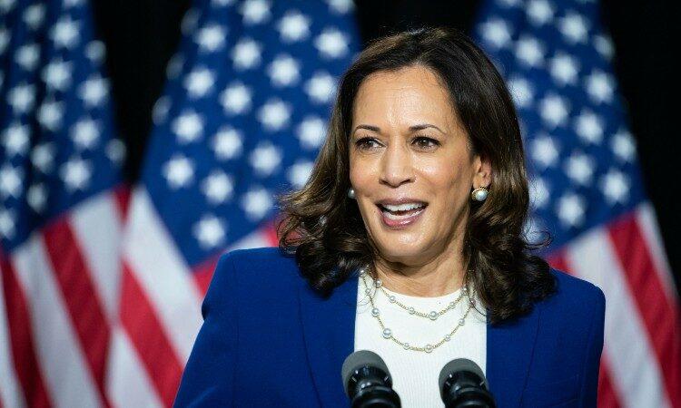 Vice President Harris speaks with American flags behind her