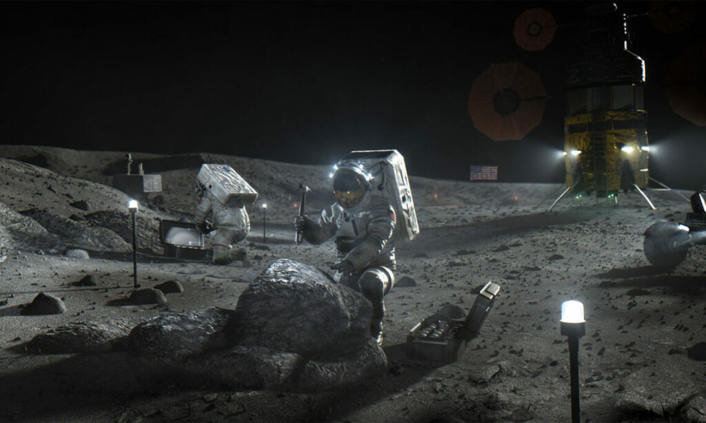Astronauts with lights on the moon