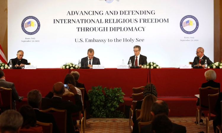 """U.S. Embassy to the Holy See's symposium """"Advancing and Defending International Religious Freedom Through Diplomacy"""" in Rome, September 30, 2020. UPDATE IMAGES PRESS/Riccardo De Luca"""