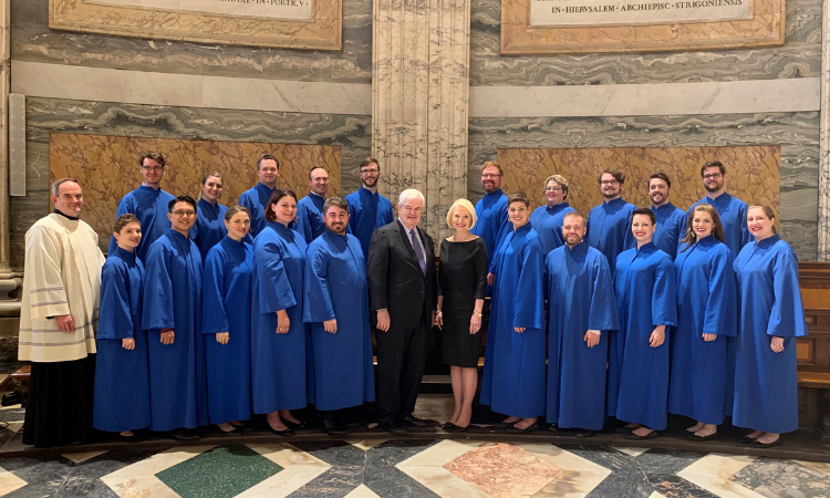 Ambassador Gingrich poses with members and leaders of the choir of the Basilica of the National Shrine of the Immaculate Conception.
