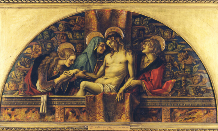 The art depicts Mother Mary cradling a wounded, crucified Jesus. Two other women are weeping beside the two. The background for this art are the heads of cherubs.