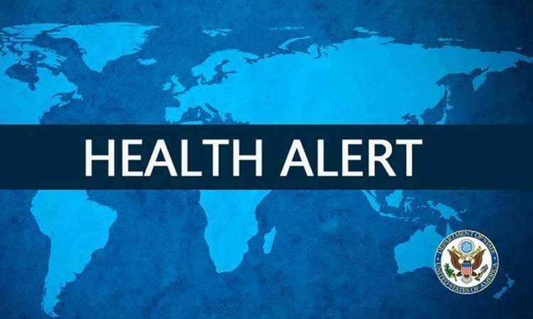 Health Alert on world map